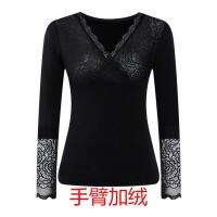 冬季美体修身紧身蕾丝保暖衣内衣加厚加绒低领打底衫单件上衣