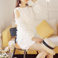 小香风小个子女装仙女礼服高腰露肩白色立体花朵连衣裙 白色
