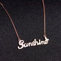 925银银不掉色阳光英文字母sunshine项链女锁骨链18K玫瑰金彩金 玫瑰金(纯银防过敏) 全新改良版