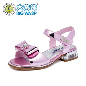 大黄蜂童鞋 女童凉鞋2018新款小公主高跟韩版 夏季中大童儿童鞋子