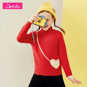 【3件3折到手价:62元】笛莎女童套头针织衫2018冬季新款爱心布贴长袖套头针织衫