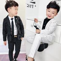 男童西装外套套装春装儿童条纹绅士长裤两件套宝宝2018新款童装