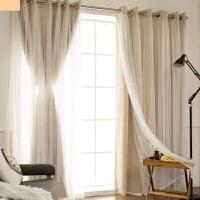 特价飘窗窗帘成品纯色蕾丝双层窗帘客厅全遮光布卧室韩式小清新纱