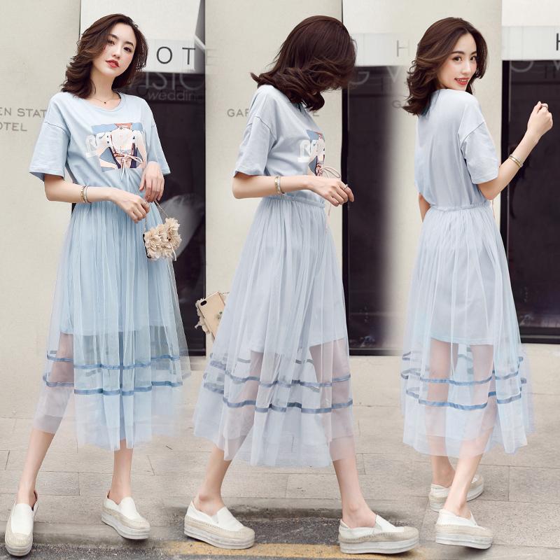 2018夏季新款韩版印花短袖t恤两件套连衣裙女显瘦网纱半身裙套装