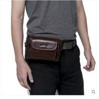 带休闲小包潮男士腰包斜挎包 大容量 多功能复古横款单肩
