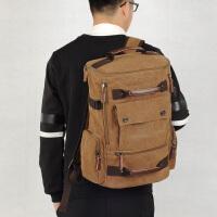 大容量双肩包男时尚潮流帆布背包学生书包韩版潮流旅行包 咖啡色