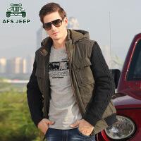 Afs jeep棉衣男装战地吉普宽松大码连帽加厚棉服休闲外套棉衣5295