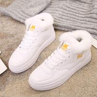 2018冬季新款皮面小白鞋女韩版百搭加绒保暖棉鞋学生防滑板鞋潮鞋 白色 加绒