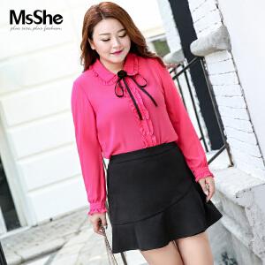 MsShe大码女装2017新款秋装胖mm复古宫廷风系带雪纺衬衫M1760774