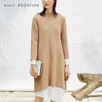 [AMII东方极简] JII2017冬装新大码文艺纯色七分袖针织配胸针A字连衣裙