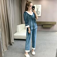 秋冬女装新款韩版休闲居家服套装甜美可爱学生丝绒睡衣睡裤两件套