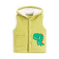 婴儿卡通夹棉马甲儿童冬季连帽上衣男女童开衫宝宝保暖衣