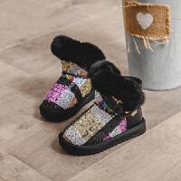女童靴子2018冬季新款儿童雪地靴加绒保暖小女孩韩版短靴中大童潮