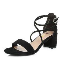 Belle/百丽2018夏新专柜同款羊绒皮革女凉鞋BLAC5BL8