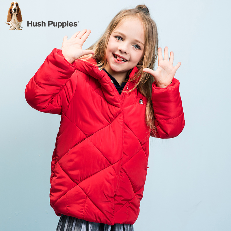 【2件5折:179元】暇步士童装冬季新款女童棉服时尚茧型中长款连帽棉服儿童棉服 超品日
