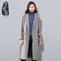 【清仓398元】梵希蔓梵希蔓毛呢大衣女2018新款冬季中长款双排扣双面呢