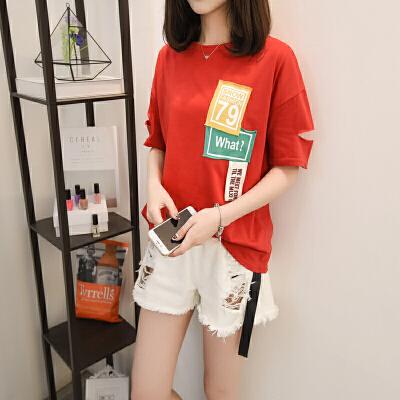 2018夏季新款韩版白色T恤短袖女学生宽松百搭体恤上衣