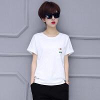 短袖T恤女上衣夏季新款韩版宽松竹节棉圆领纯色百搭蝙蝠袖体恤衫