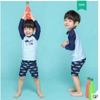 男童泳衣长袖宝宝游泳装中大童小童泳裤婴幼儿卡通分体两件套温泉