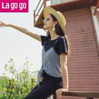 Lagogo/拉谷谷2019年春季新款时尚圆领短袖上衣两件套HASS843C06