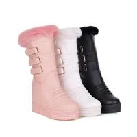 2018冬季新款韩版雪地靴白色兔毛中筒靴保暖冬靴平底棉靴女靴子软底