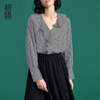 初语2018春装新款 荷叶边V领黑白条纹宽松长袖心机衬衫女韩范衬衣