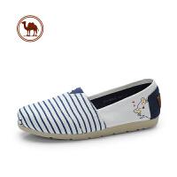 骆驼牌女鞋春季新款舒适平底玛丽鞋女时尚条纹休闲帆布鞋浅口单鞋