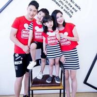 2018夏季新款亲子装母女连衣裙夏季一家四口韩版父子T恤家庭套装 红色