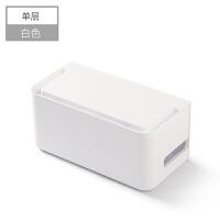电线收纳盒桌面无线路由器机顶盒插座插线板整理盒子理线盒集线器 单层白色 收纳插线板