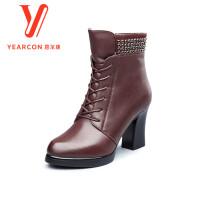 意尔康女靴2017秋冬新款尖头粗跟踝靴水钻装饰高跟女靴