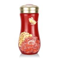 乾唐轩活瓷杯彩绘盛世牡丹随身杯双层 创意陶瓷水杯杯子