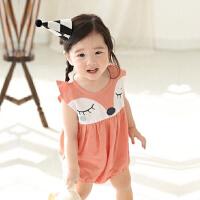夏季0-3岁婴儿三角哈衣四个月宝宝衣服儿童连体衣6夏装爬服薄款夏