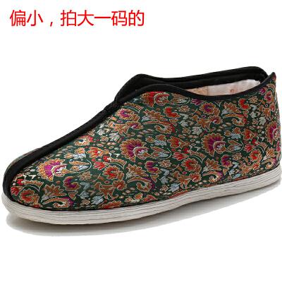 冬季布鞋女棉鞋手工千层底奶奶鞋布底老年人女鞋保暖老人鞋srr