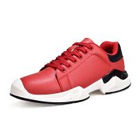 秋季运动休闲鞋男红色韩式皮质防水中学生青少年社会小伙 39 标准运动鞋码