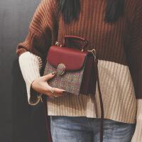 包包女新款英伦风韩版时尚手提小方包复古格子单肩女包斜挎包