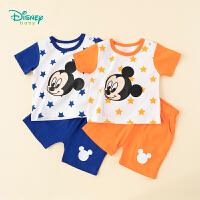 迪士尼Disney童装 男童纯棉套装星星圆领肩开短袖透气薄款短裤2件套夏季