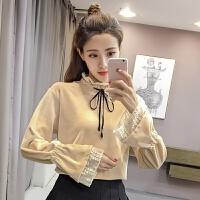 春秋季新款女装韩版高领加厚打底衫木耳边喇叭袖上衣服T恤
