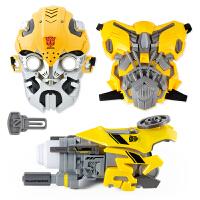 孩之宝擎天柱大黄蜂机器人声光面具模型套装男孩玩具 抖音