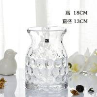 现代透明摆件创意家居装饰品大号复古清新/手工玻璃花瓶 插花瓶 透明 (18CM波点花瓶)