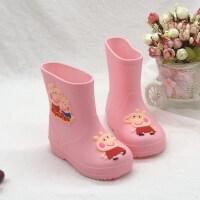 轻便宝宝雨鞋儿童女童公主可爱加绒防滑水鞋男小童幼儿雨靴1-13岁 粉 不加棉