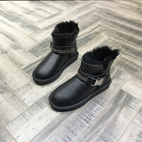 欧洲风格站2017冬季新款女鞋皮毛一体铆钉皮带扣雪地靴厚底保暖靴