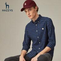 Hazzys哈吉斯旗�店格子�r衫男夏季�L袖潮流�r衣薄款�棉商�漳醒b