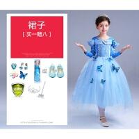 灰姑娘裙子女童春季艾莎连衣裙儿童装爱莎礼服长裙冰雪奇缘公主裙