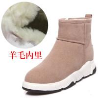 雪地靴女鞋平底冬季棉鞋子秋冬鞋女靴短筒厚底内增高羊毛短靴