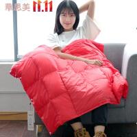 多功能汽车抱枕被子两用羽丝绒空调被午休薄被车用靠枕枕头车上靠垫 140x180cm(90%鸭绒,收藏加购送毯子一条