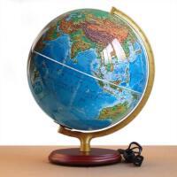 【赠中国地图册】博目32cm高清地形政区灯光木座地球仪地理老师都在用中英文政区带灯地球仪博目地图正版制品
