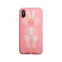 原创毛绒公仔xiPhonex xs max xr手机壳78plus卡通6s软 ix/xs 粉底【兔子】xx