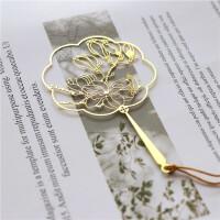 金属玉兰扇面书签中国风流苏团扇古典花卉玉兰花黄铜精密外事礼品