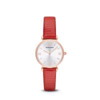 Armani阿玛尼官方正品红色皮带女式手表轻薄简约休闲石英表AR1876