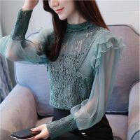2018秋装新款女装气质欧货灯笼袖蕾丝打底衫长袖雪纺衫超仙上衣服